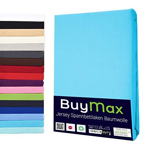 Buymax Spannbettlaken 180x200-200x200 cm Spannbetttuch Bettlaken 100% Baumwolle Jersey Bettbezug für Matratzen bis 25 cm Steghöhe, Türkis