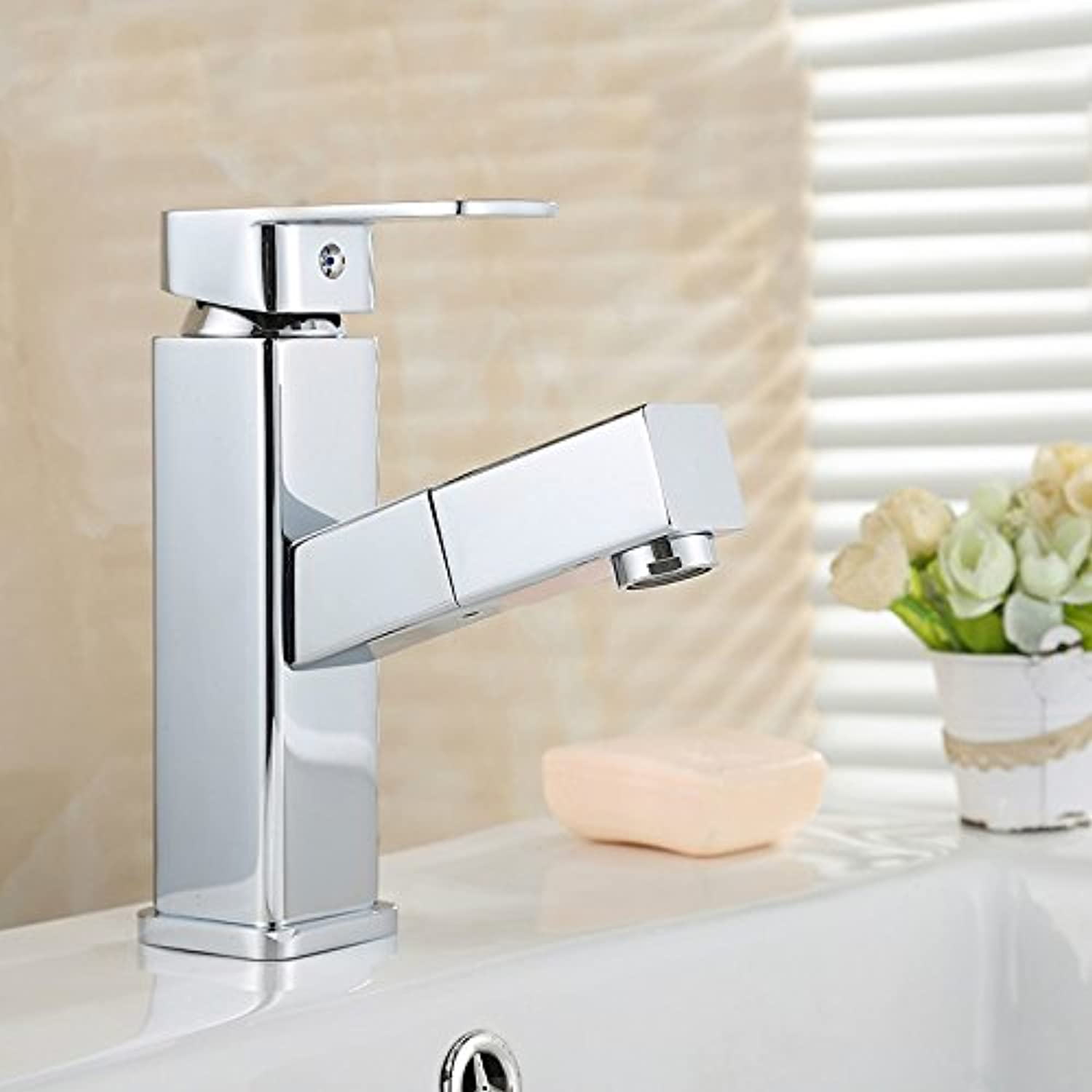 SunSui All copper main basin, pull type faucet, hot and cold wash basin, washbasin, bathroom, telescopic table, basin faucet,Single tap [no inlet pipe]