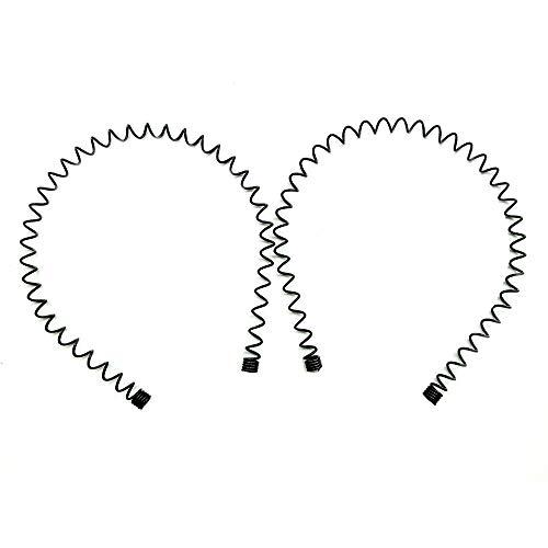 Lofuanna Gomas de pelo de metal unisex diademas de belleza,color negro ondulado,deportes de primavera para hombres,de la banda de pelo accesorios simples elásticos antideslizantes(2 unidades)