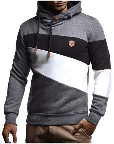 Leif Nelson Herren Schalkragen Kapuzenpullover Modern Sweatshirt - Herren Pullover Slim Fit LN8245; Medium, Anthrazit
