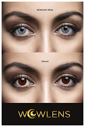 WOWLENS Sehr stark deckende und natürliche graue Kontaktlinsen farbig MIAMI GREY + Behälter I 1 Paar (2 Stück) I DIA 14.00 I 0.00 Dioptrien I ohne Stärke