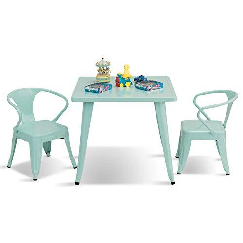 COSTWAY Sitzgruppe Kinder, 3tlg. Kindersitzgruppe, Kindermöbel aus Metall, Kindertisch mit 2 Kinderstühlen, Kindertischgruppe blau
