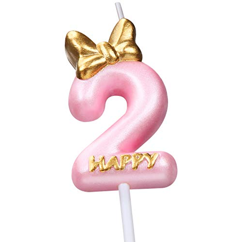 Candle Pink Birthday Candle Girl Happy Birthday Cake Topper, Birthday Candle for Cake Topper Birthday Baking Celebration Reunions Anniversary Party Supplies (Number 2)