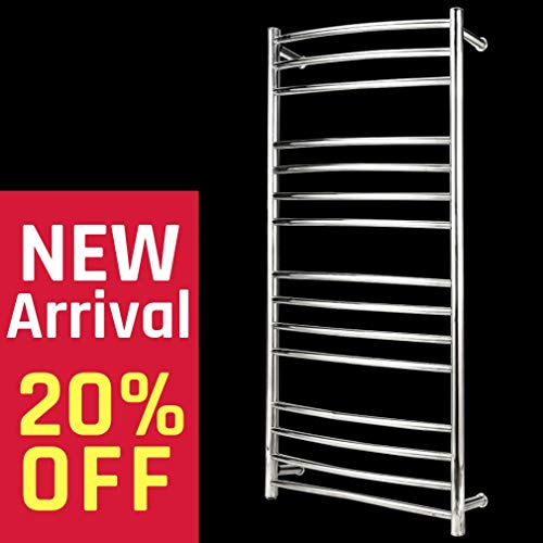 Great Deal! BEE.TECH Towel Warmer 15 Bar Electric Heated Towel Rack Wall Mount Plug-in/Hardwired Cur...