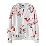 MORCHAN❤Mode Femmes Automne Hiver Casual Impression Floral imprimé Top Manteau Outwear Sweat-Shirt Veste Manteau Cardigan Manteau Blouson(FR-42 / CN-S,Blanc)