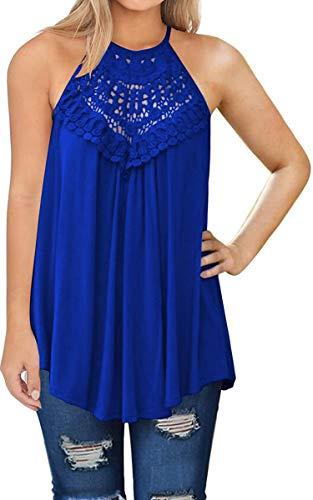 Vestido feminino ECOWISH frente única, decote em renda, patchwork, frente única, solto, túnica, sem mangas, casual, top, 074 Blue, X-Large