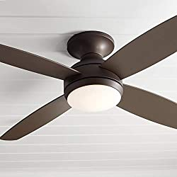 "52"" Casa Elite Modern Hugger Ceiling Fan with Light LED Dimmable Remote Flush Mount Oil Rubbed Bronze"