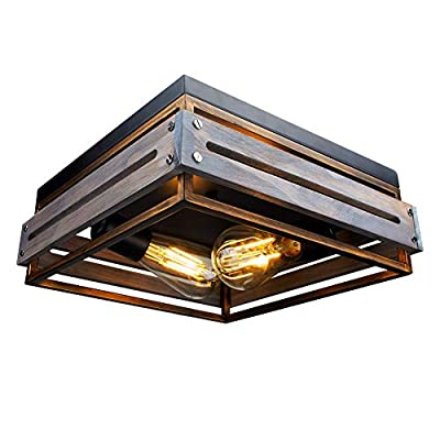 Farmhouse Ceiling Light 2 Lights Industrial Ceiling Light Farmhouse Flush Mount Ceiling Light Vintage Rustic Lights Metal and Wood Square Lighting Fixture for Hallway Living Room Farmhouse Lighting