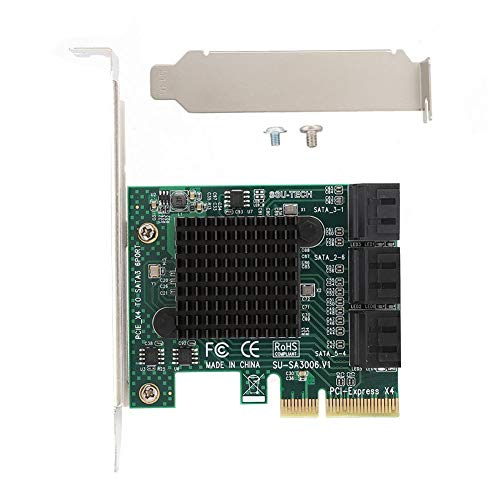 Uitbreidingskaart, Desktopuitbreidingskaartadapter, PCI-E 4X naar SATA3.0 Interface Adapter Extender, voor Linux NAS, Plug and Play