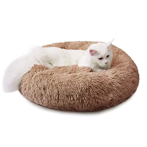 Cama para Perros Cama Redonda de Felpa Suave para Mascotas Almohada para Perros Sofá para Gatos Caqui 100cm