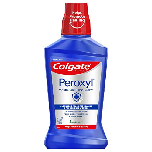 Colgate Peroxyl Mouth Sore Rinse, 1.5% Hydrogen Peroxide, Mild Mint - 500mL, 16.9 fluid ounces