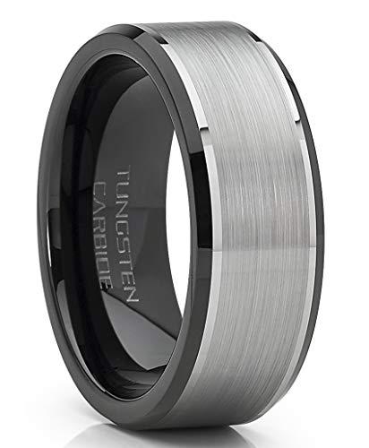 Metal Masters Co. Herren Wolframkarbid Ehering Flat Top gebürstet zweifarbig schwarz Ring 8mm