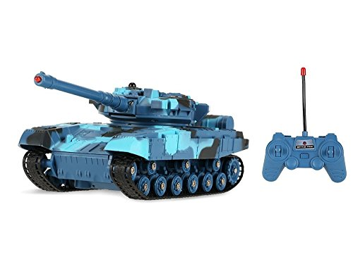 RC Battle Tanks Toy Remote Control Military Tank for Kids w/Infrared Light, Realistic Firing Action & Fully Rotational - 1/24 Scale Battle Tank (Colors May Vary)