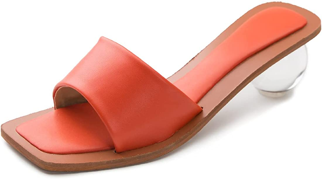 YIYA Women's Square Toe Flip Flop Heels Lucite Clear Round Low Heel Thong Sandals Slip on High Heeled Slide Mule Shoes