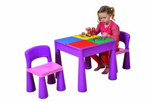 5 in 1 Aktivitätstisch & Stuhl mit Schreibplatte / Lego / Sand / Wasser / Aufbewahrung, Lila