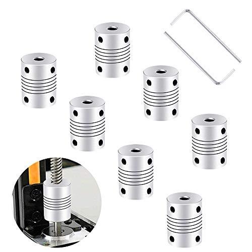 Flexible Wellenkupplungen 7 Stück Flexible Kupplung 3D Drucker Wellenkupplung 5mm 8mm Schrittmotor-Koppler Aluminiumlegierung Gelenkverbinder für RepRap 3D Drucker, CNC Maschine