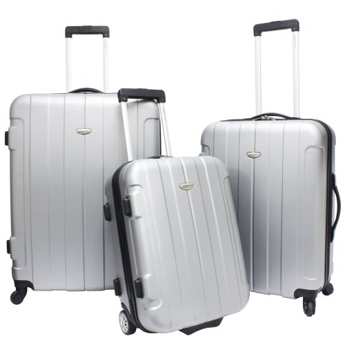 Traveler's Choice Rome 3-piece Hardside Lightweight Spinner/Rolling Luggage Set Silver Grey