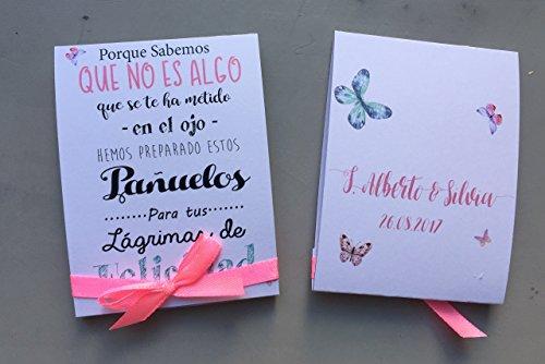 Pañuelos de papel para Bodas. Lágrimas de Felicidad para los que lloran. 30 unidades