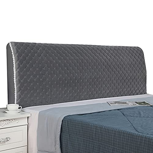 ZWDM Bed Headboard Cover Stretch Bed Head Protector Cover Solid Color Bedroom Decoration (Color : Silver Gray, Size : 2.0x65cm)