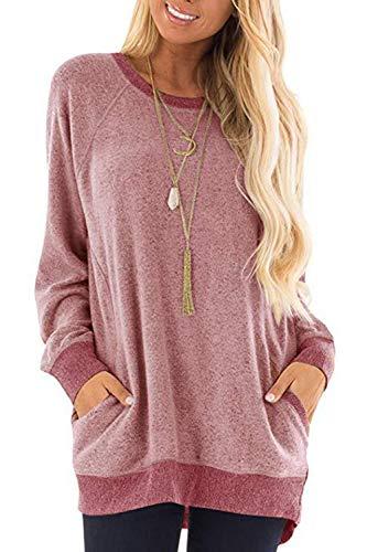 Damen Langarmshirt Casual Sweatshirt Farbblock T-Shirt Rundhals Blusen Top Pullover Oberteile mit Taschen (252-Rosa, X-Large)