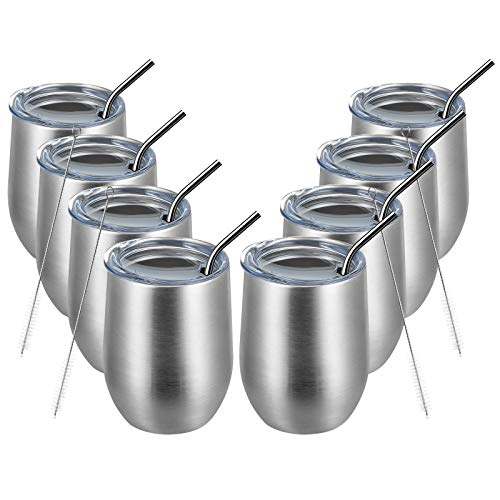 MEWAY 12oz/8 Pack Wine Tumbler Glasses with Lid - Stemless Double Wall Vacuum Stainless Steel Travel...