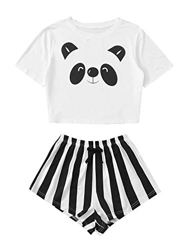 DIDK Damen Sommer Pjama Set Schlafanzüge Hausanzug Casual Loungewear Sleepwear mit Kurz T-Shirts Hose PJ Weiß+Schwarz #325 XS