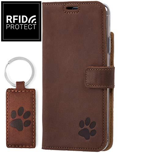 SURAZO Für Apple iPhone 11 Pro - RFID - Pfote - Hülle Premium Vintage Ledertasche Schutzhülle TV Wallet Case aus Echtesleder Nubukleder Farbe Nussbraun
