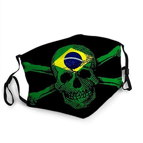 Wiederverwendbarer Gesichtsschutz Mundschutz Piratenart Schädel und gekreuzte Knochen mit Brasilien-Flagge
