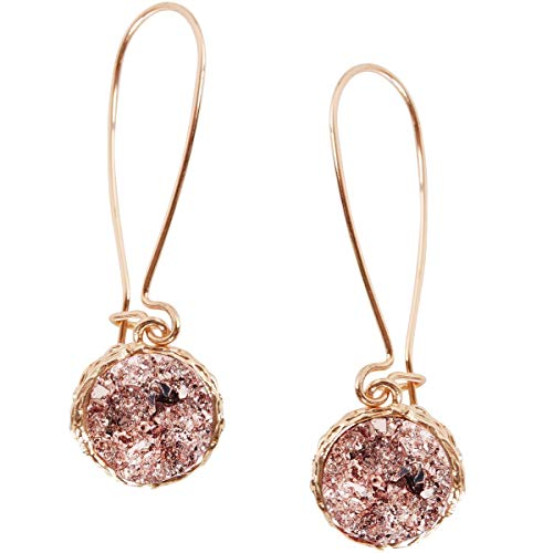 Humble Chic Simulated Druzy Threaders - Boho Glitter Upside-Down Long Hoop Dangle Drop Earrings for Women, Rose Stone with Gold-Tone, Metallic Pink, Gold-Tone