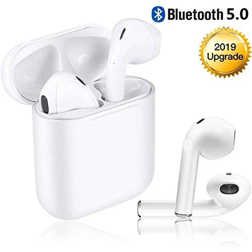 Bluetooth inalámbricos Auriculares, Auriculares Micrófono Estéreo con Estuche de Carga, Auriculares con Cancelación de Ruido para Todos los Teléfonos Inteligentes