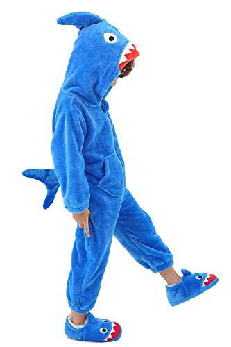 LOLANTA Winter-Strampler mit Kapuze für Kinder Jungen Mädchen Einhorn Elefantenhai Kostüm Halloween Kleinkind,5-6 Jahre,Medium,Blauer Hai