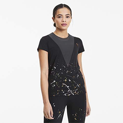PUMA Metal Splash Deep V tee Camiseta, Mujer, Black, XS