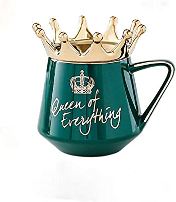 Crown 12 oz Coffee Mug Ceramic Coffee or Tea Mugs Birthday Gifts for Women Funny Wedding Mugs Gif,Queen of Everything(Green)
