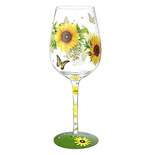 NymphFable Copa de Vino Pintada a Mano Mariposa Girasol Copa de Vino Tinto 15oz Regalo para Familia o Amigo