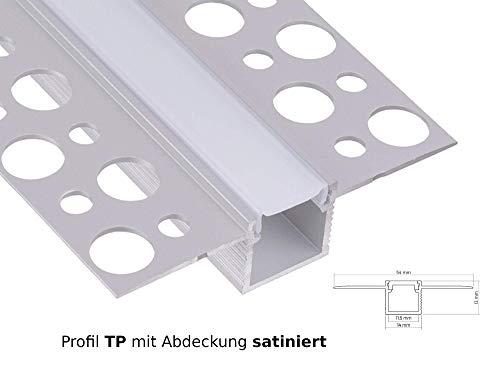 LED Aluminium Profil Unterputz Leiste Rigips Trockenbau 2M Lang für LED-Streifen Profil TP mit Abdeckung satiniert
