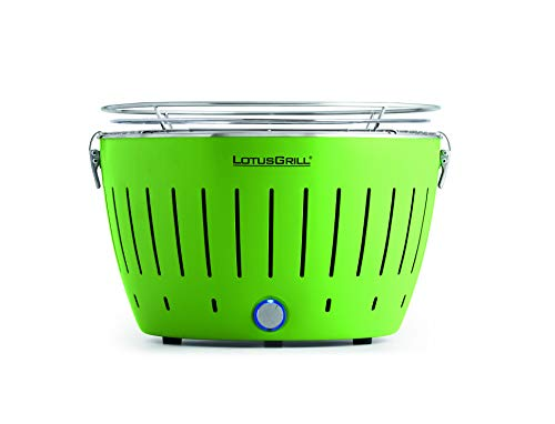 LotusGrill (Limettengrün der raucharme Holzkohlegrill/Tischgrill mit USB-Anschluß in verschiedenen fröhlichen Farben. Garantiert Immer die neueste Technik inkl. Magic Cover Ø 24 cm! …