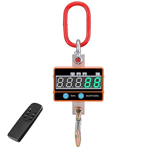 Vogvigo Báscula de grúa Digital Industrial 2000 kg/4000 LB Báscula Colgante de Alta Resistencia Recargable con Control Remoto para la fábrica de Granjas domésticas (Naranja)