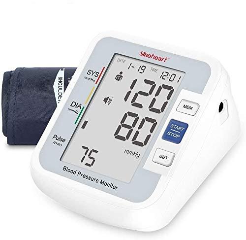 sinoheart Blutdruckmessgerät Oberarm, Blutdruckmessgerät für den Heimgebrauch mit arrhythmischer Pulserkennung, Sprachfunktion, Großbildschirm, Manschette 24-34cm