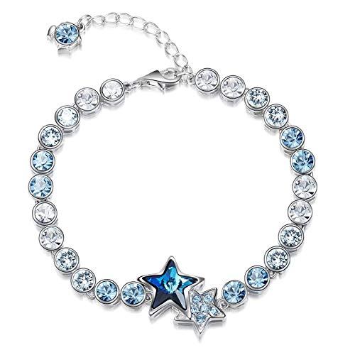 ANEWSIR Bracelet S925 Elegant Bracelets, Blue and white Crystal Bracelets for Women,Girls,Birthday,Valentine,Adjustable Friendship Bracelet