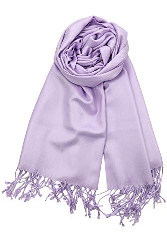 Achillea Large Soft Silky Pashmina Shawl Wrap Scarf in Solid Colors (Light Lavender)