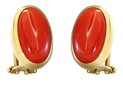 Hobra-Gold - Orecchini a clip in oro 750 con corallo ovale
