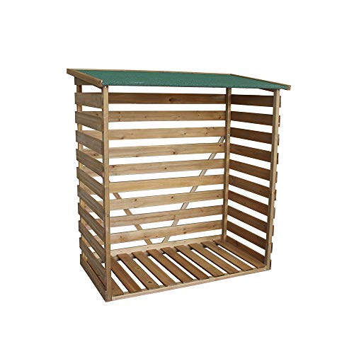 MCombo Kaminholzregal mit Rückwand Brennholzregal Kaminholzunterstand 1200 aus Holz Braun, 64 x 116 x 123 cm