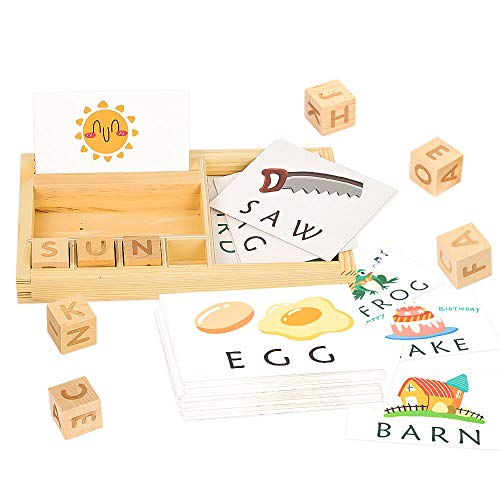 Youwo See and Spell Learning Toy Puzzle Learning Games Preschool Learning Toys Matching Letter Game Words Alphabet Spelling Skills Puzzle Letter Block for Kids Preschool Learning Toys
