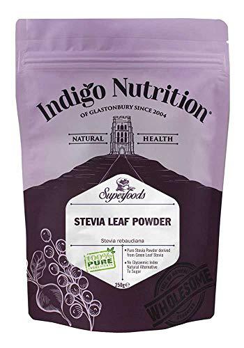 Indigo Herbs Polvo de Hoja de Stevia 250g - alternativa natural al azúcar