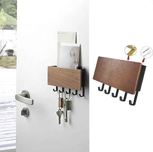 RUZINON Patère à 5 crochets muraux pour clés, lettres et clés, fixation murale, pour la maison, l'entrée et le bureau
