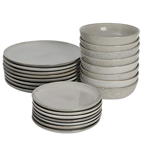 ProCook Oslo Coupe - Service de Table en Grès - 24 Pièces/8 Personnes - Grande Assiette Plate/Assiette à Dessert/Assiette Creuse - Glaçure Réactive - Gris
