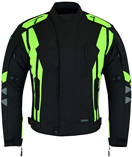 Chaqueta de motorista Hivis CJ7 para hombre, impermeable, de Ridex Amarillo Yellow, Black L