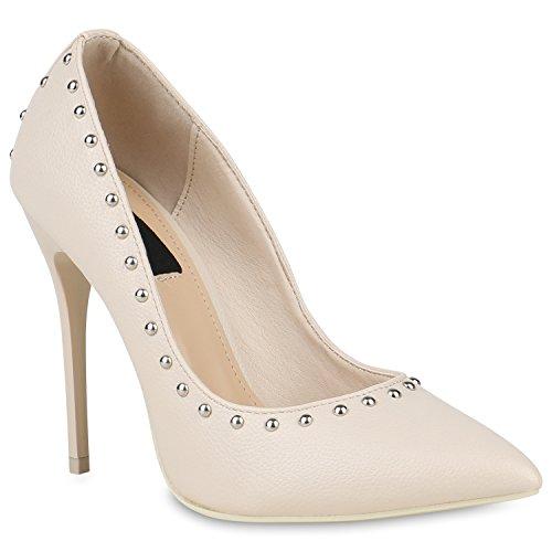 Damen Schuhe Spitze Pumps Nieten Lack Stilettos Party High Heels 150695 Creme Brooklyn 35 Flandell