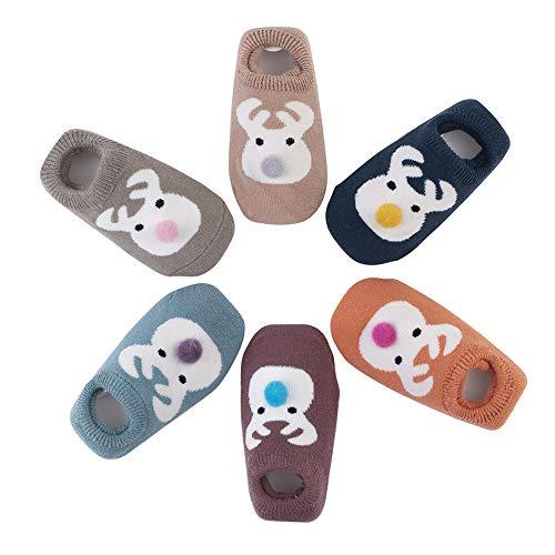 Estwell 6 Paare Baby Antirutsch Socken Säugling Baby Jungen Mädchen Rutschfest Socken Kleinkind Dicke Baumwolle Niedlich Tier Socken