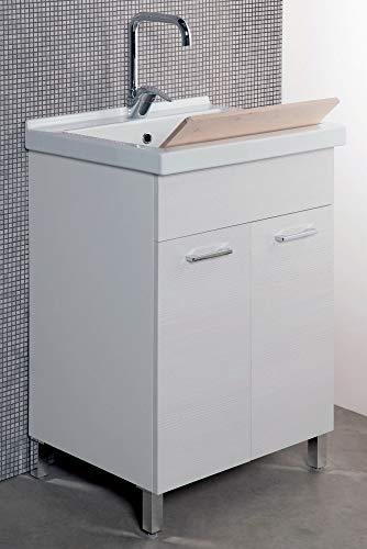 giordanoshop Mobile Lavatoio in Ceramica 60x50x89 cm 2 Ante Ambrosini Bianco Rigato